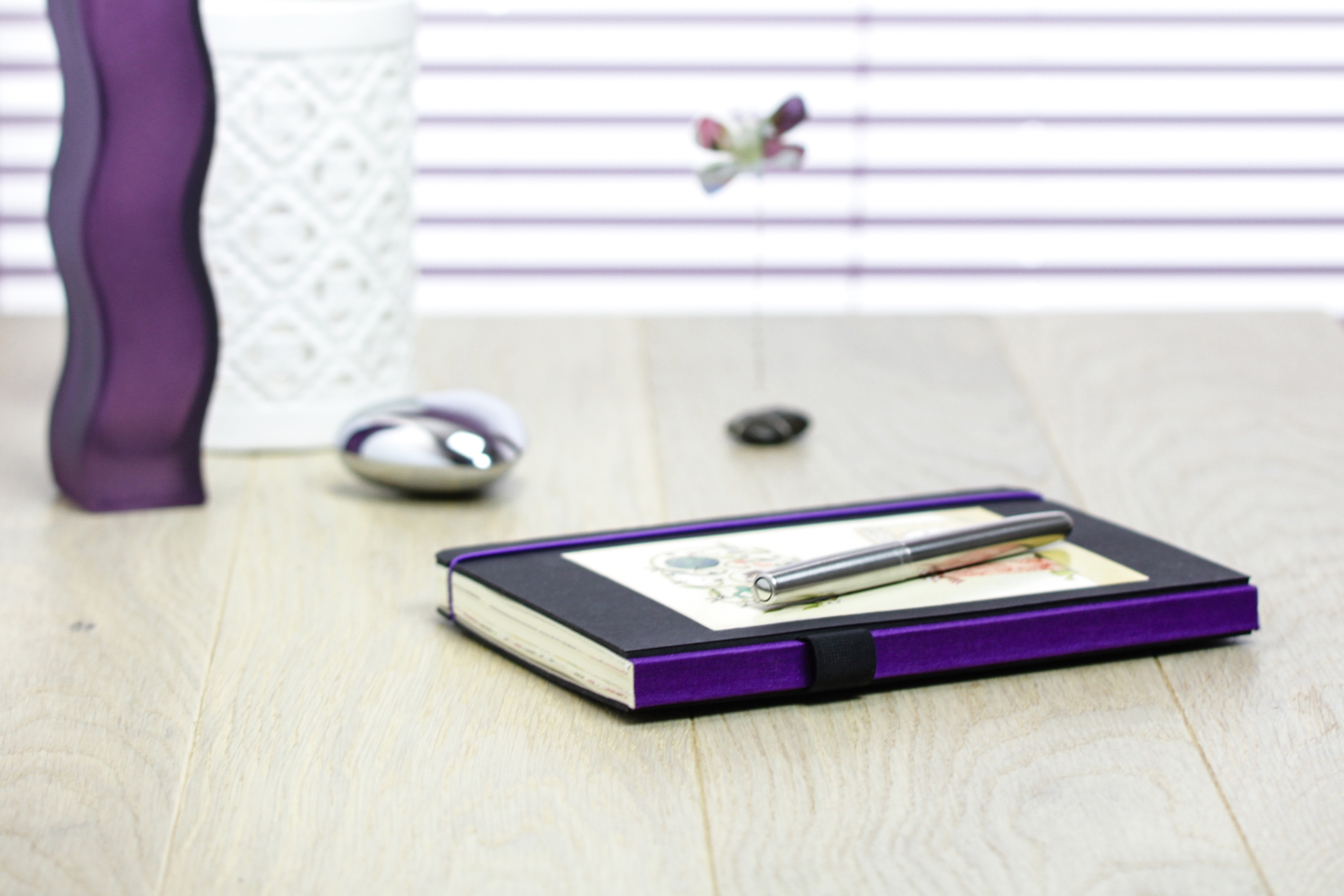 desk, purple, notebook, utensils, write