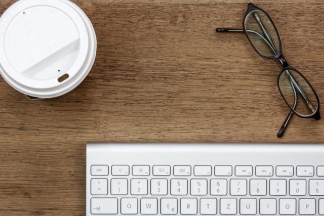 desk, coffee, keyboard, glasses