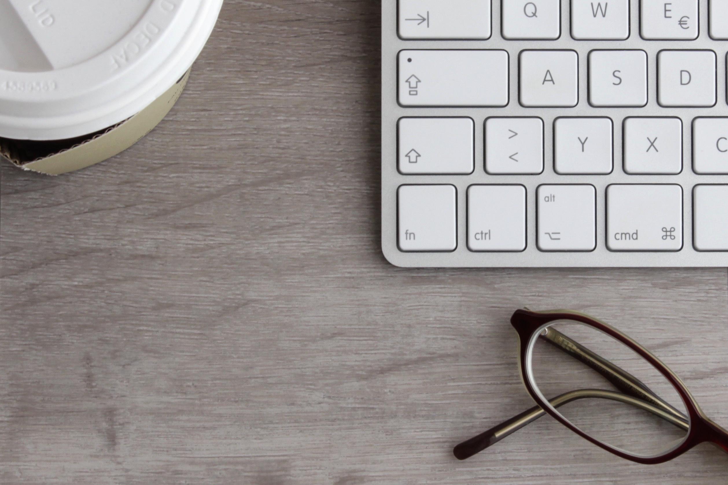 keyboard, coffee, glasses
