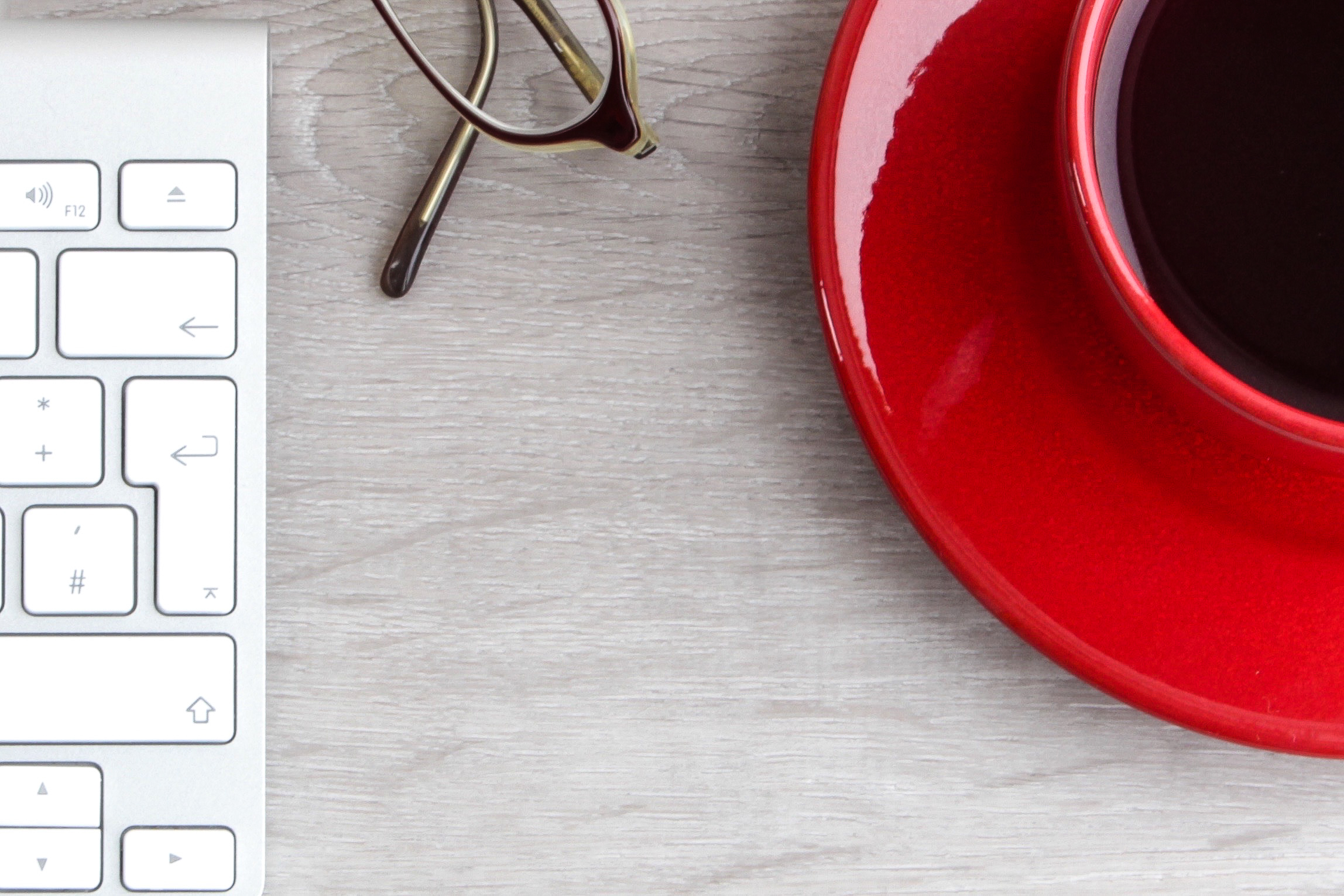 desk, cup, coffee, glasses, keyboard
